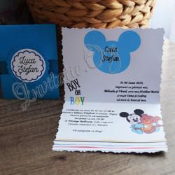 Invitatie de boez cu Mickey Mouse si ursulet