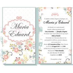 Invitatie de nunta electronica flori pastel