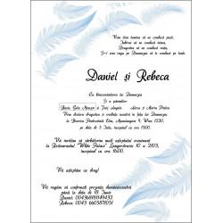 Invitatie de nunta electronica cu pene bleu