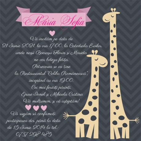 Invitatie electronica botez roz cu girafe