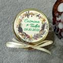 Eticheta de Toamna Coronita cu Crengute si Conuri