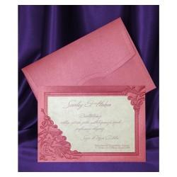 Invitatie de nunta eleganta crem-visiniu 5396